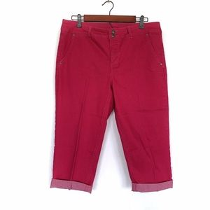 Style & Co. Pink Denim Cropped Cuffed Ankle Jeans